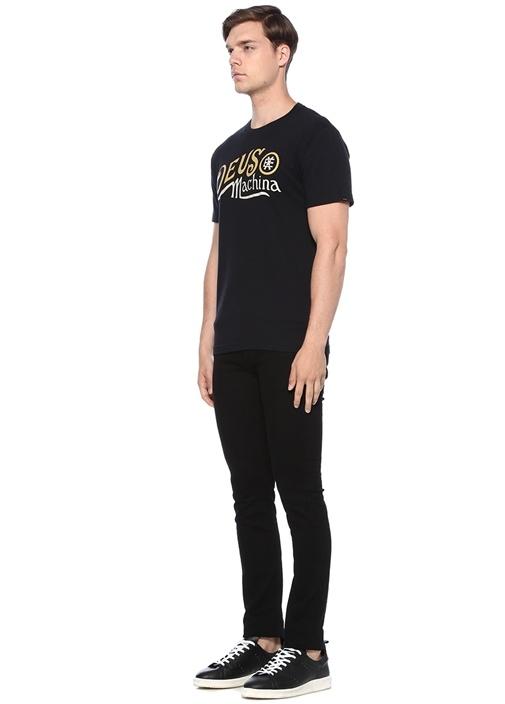 Regular Fit Siyah Bisiklet Yaka BaskılıT-shirt