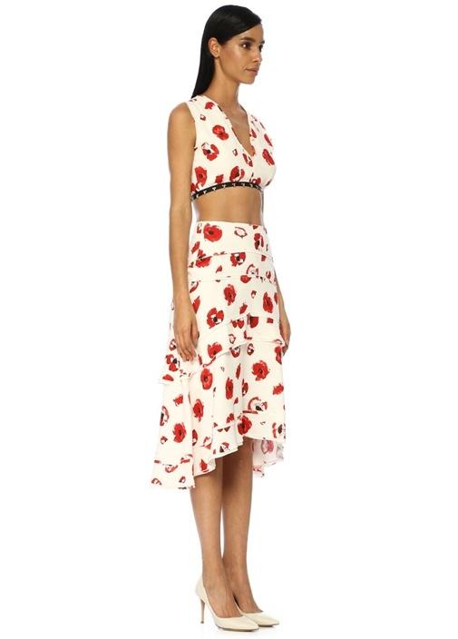 Kırmızı Beyaz Çiçekli Katlı Midi Krep Etek