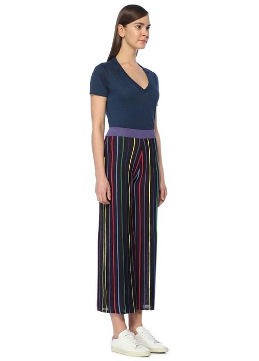 Yüksek Bel Renkli Çizgili Crop Pantolon