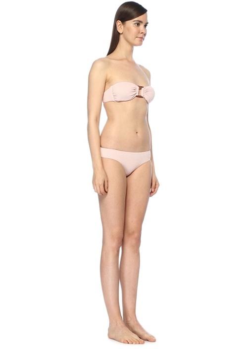 Angola Pembe Tokalı Pike Dokulu Bikini Takım