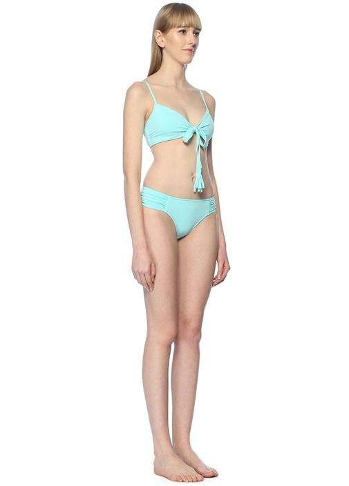 Ruched Side Retro Mavi Büzgülü Bikini Altı