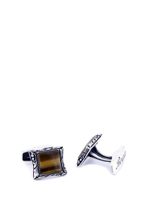 Silver Kahverengi Kare formlu Gümüş KolDüğmesi
