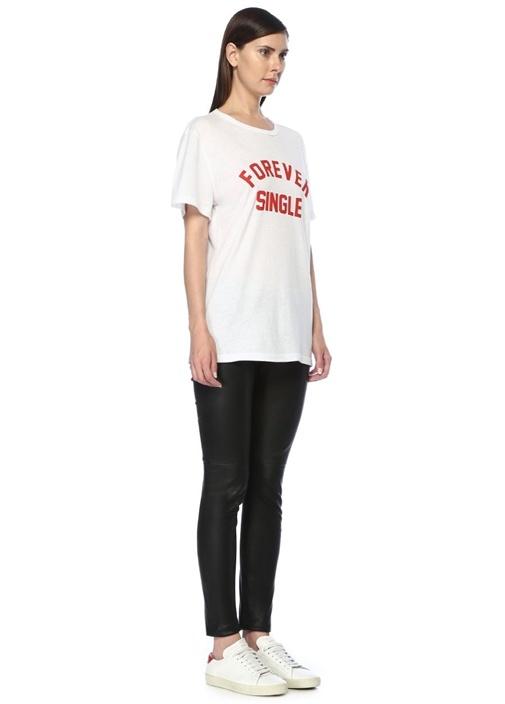 Beyaz Kırmızı Bisiklet Yaka Baskılı Basic T-shirt