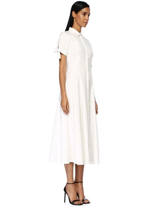 Beyaz Polo Yaka Kolları Bağlamalı Midi Elbise