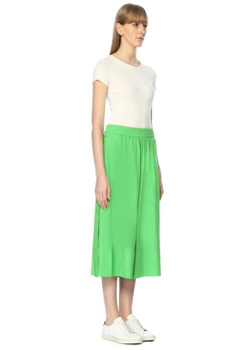 Yeşil Yüksek Bel Yırtmaçlı Crop Pantolon