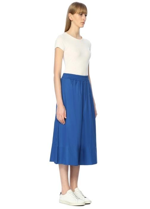 Mavi Yüksek Bel Yırtmaçlı Crop Pantolon