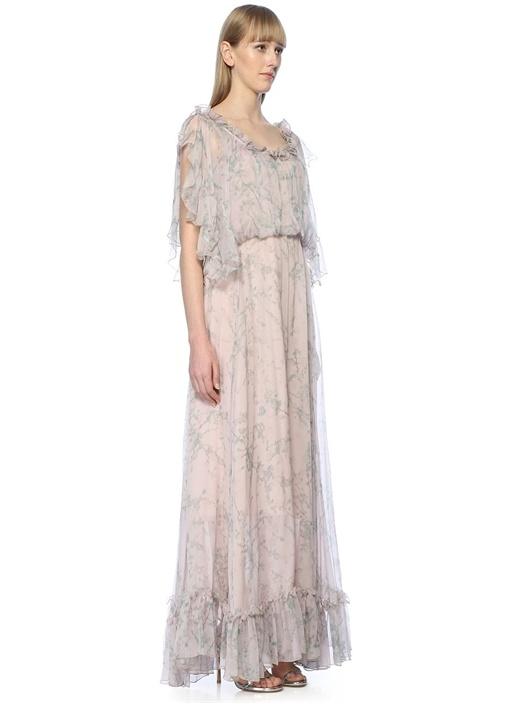 Pembe Çiçekli Maksi Şifon İpek Abiye Elbise