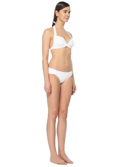 Beyaz Yanları Büzgülü Bikini Altı