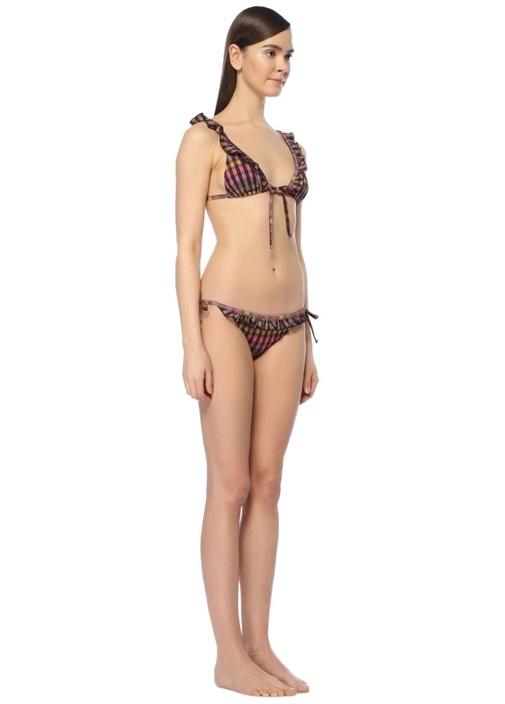 Lolita Mor Ekoseli Fırfırlı Bikini Takım