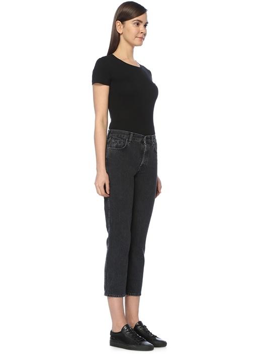 Antrasit Jean Yüksek Bel Boru Paça Pantolon