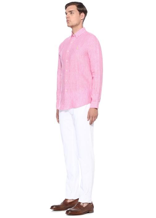 Pembe Beyaz Çizgili Logo Nakışlı Keten Gömlek