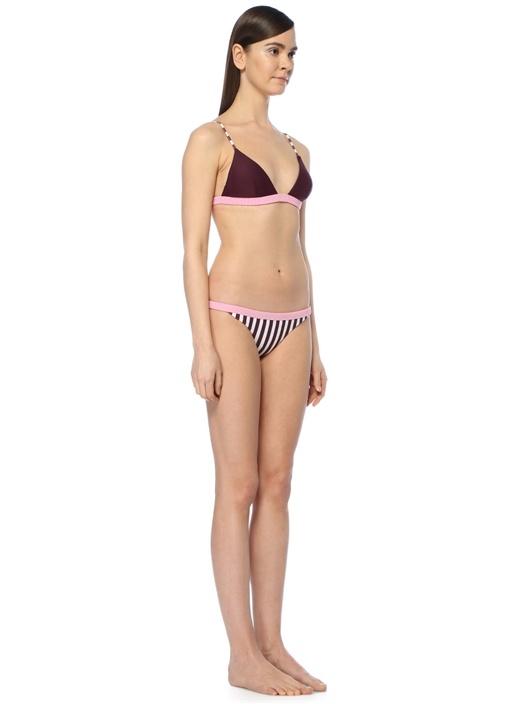 Xoxo Bordo Çizgili Bikini Altı