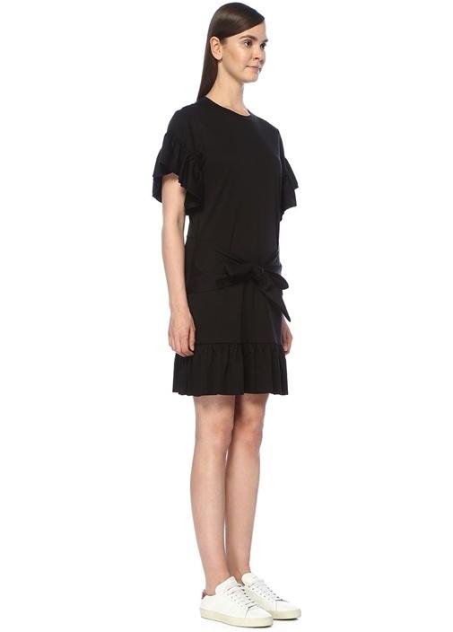 Siyah Beli Bağcıklı Fırfırlı Midi Elbise