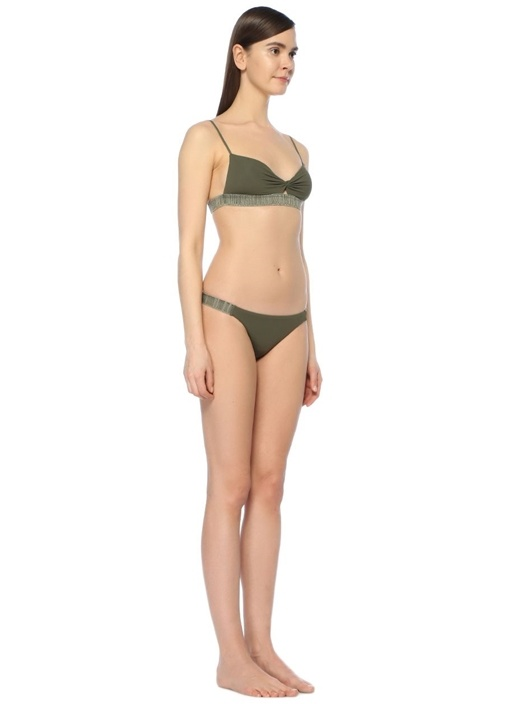 Elastıc Haki Bikini Üstü