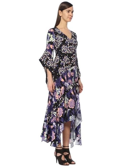 Lacivert Desenli Asimetrik İpek Midi Elbise
