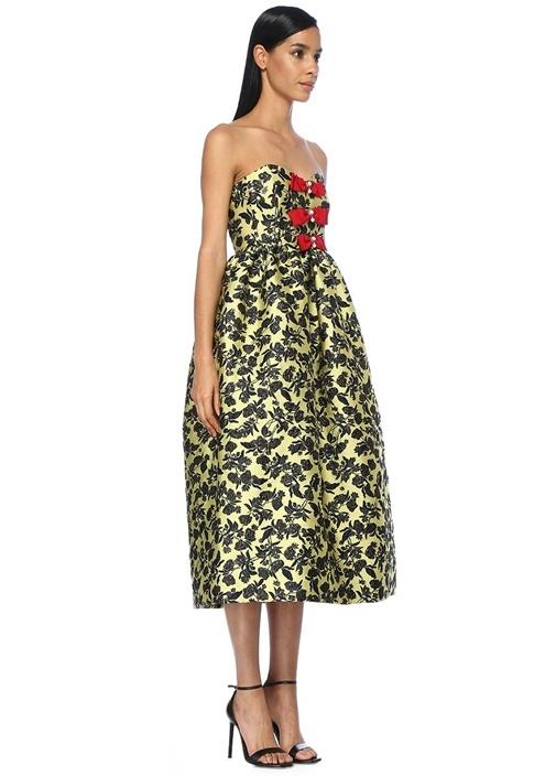 Peony Sarı Çiçek Nakışlı Midi Elbise