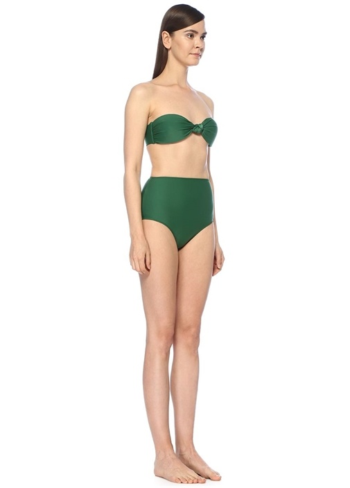 Yeşil Straplez Yüksek Bel Bikini Takımı