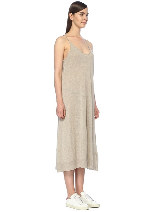 Flaxcity Gri İnce Askılı Midi Keten Triko Elbise
