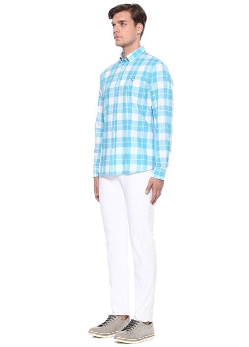 Comfort Fit Mavi Ekose Desenli Gömlek
