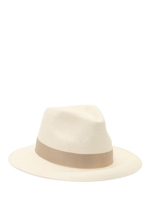 Ekru Bej Şeritli Erkek Hasır Şapka