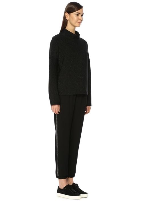 Siyah Yüksek Bel Yanı Taşlı Şeritli Pantolon