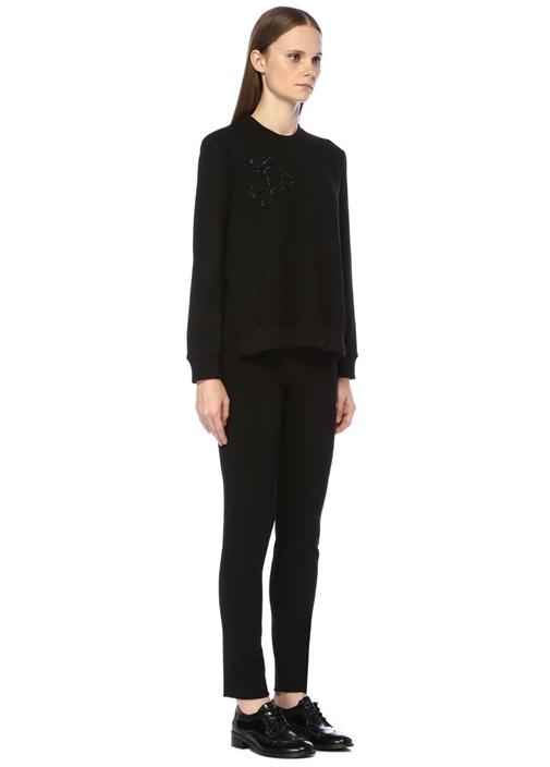 Siyah Çiçek İşlemeli Önü Kısa Sweatshirt
