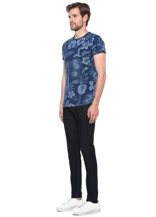 Lacivert Baskılı Basic T-shirt