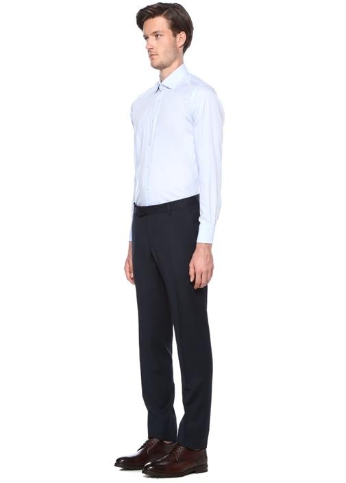 Slim Fit Mavi Non Iron Klasik Twill Gömlek