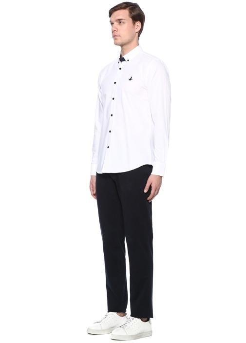 Slim Fit Beyaz Logolu Gömlek