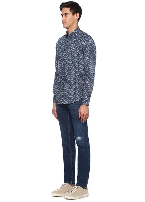 Slim Fit Indigo Çini Şal Desenli Gömlek