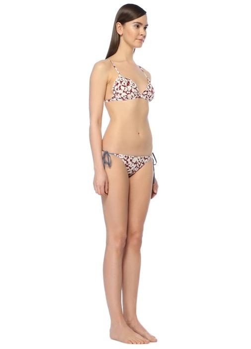 Reggipetto Leoparlı Fırfırlı Üçgen Bikini Üstü