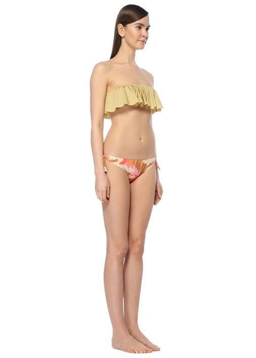 Lotus Bej Straplez Volanlı Bikini Üstü