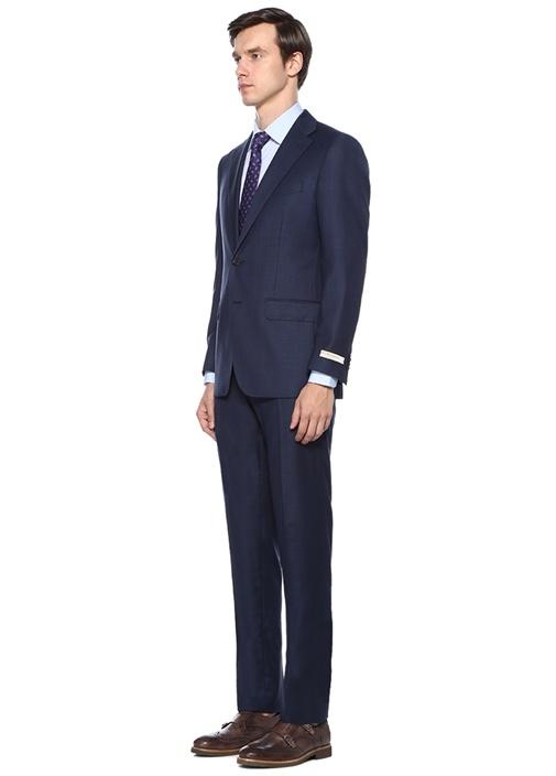 Drop 7 Lacivert Petek Dokulu Yün Takım Elbise