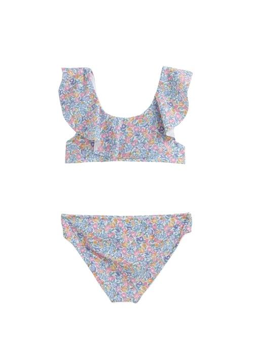 Mavi Çiçekli Kız Çocuk Bikini Takımı