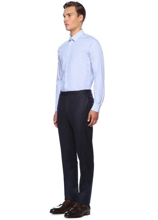 Custom Fit Mavi Yakası Düğmeli Çizgili Gömlek