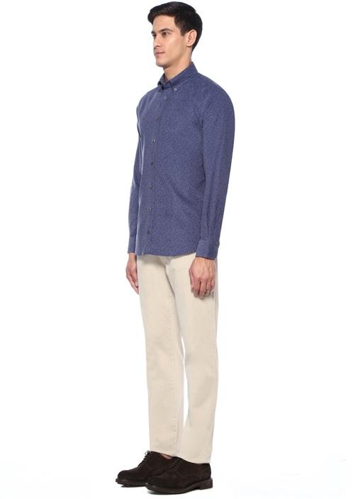 Custom Fit Düğmeli Yaka Çiçekli Kadife Gömlek