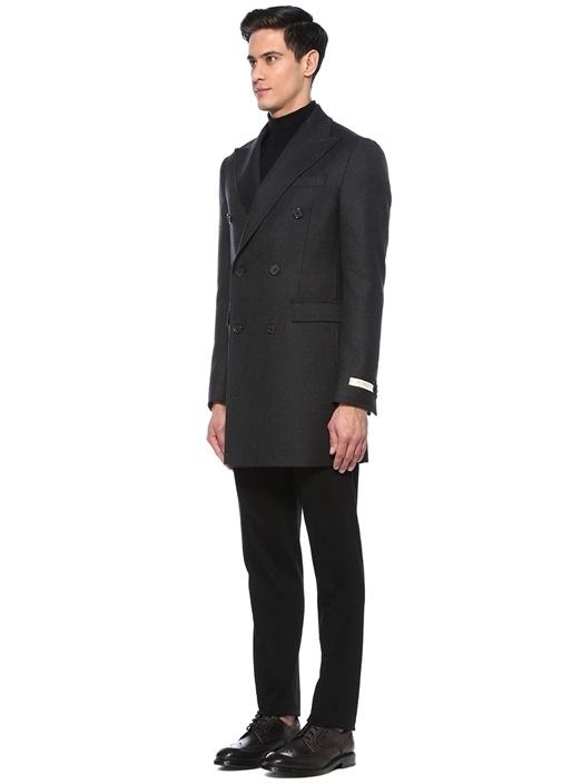 Drop 8 Slim Fit Antrasit Kruvaze Yün Palto