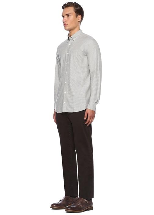 Custom Fit Gri Yakası Düğmeli Mikro Desenli Gömlek