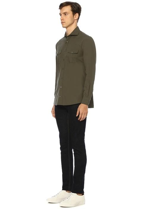 Comfort Fit Haki Kesik Yaka Gömlek
