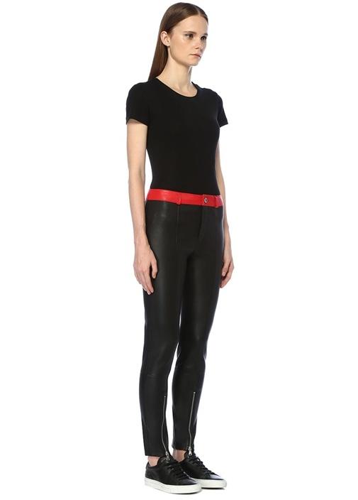 Siyah Kırmızı Paçaları Fermuarlı Dar Deri Pantolon