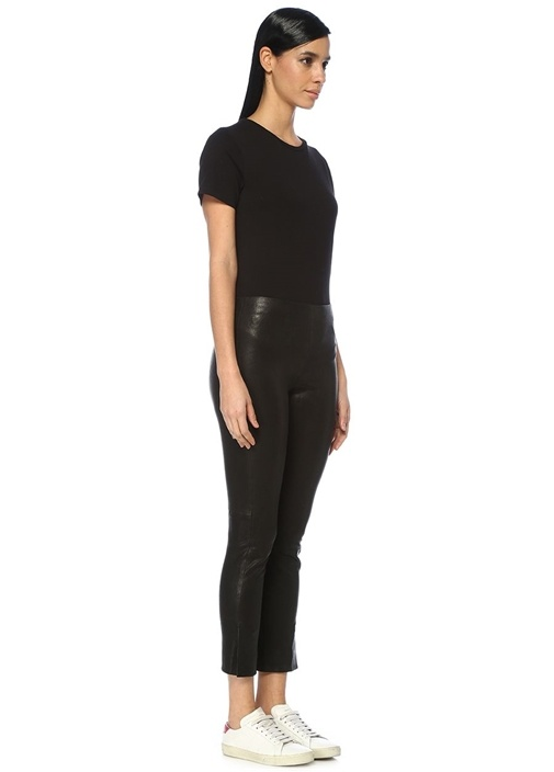 Siyah Yüksek Bel Paça Detaylı Deri Pantolon