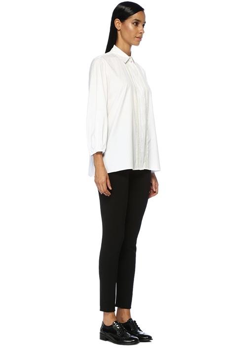 Beyaz Nervür Detaylı Koton Gömlek