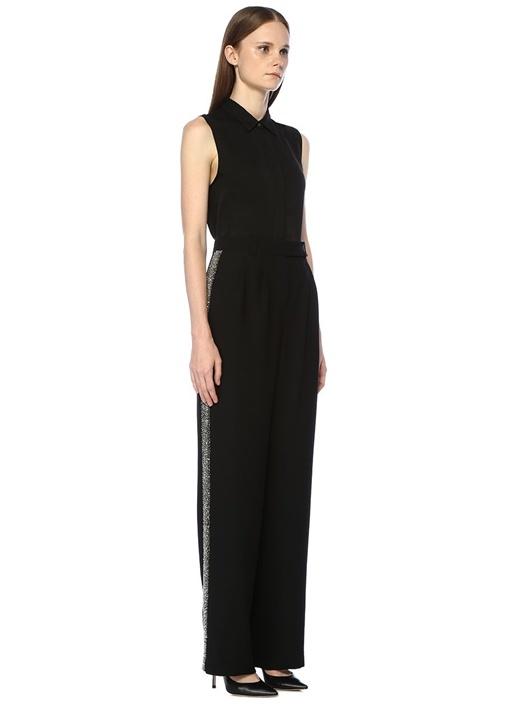 Siyah Yüksek Bel Yanı İşlemeli Krep Pantolon