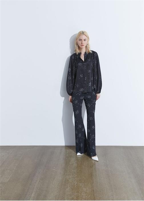Siyah Mikro Çiçek Desenli Bol Paça Pantolon
