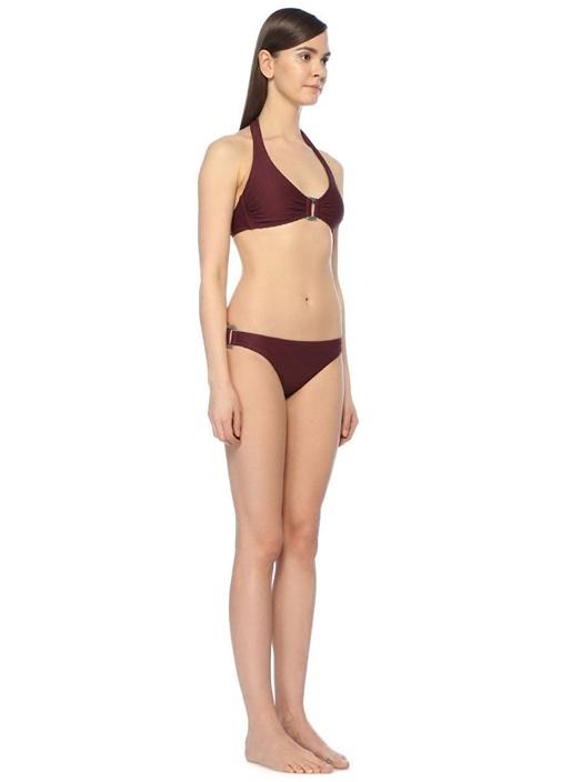 Monaco Bordo Tokalı Halter Bikini Üstü