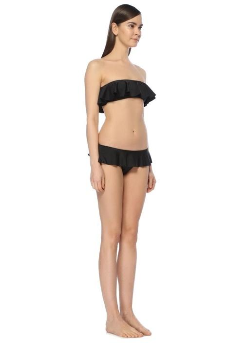 Bandeau Siyah Straplez Volanlı Bikini Üstü