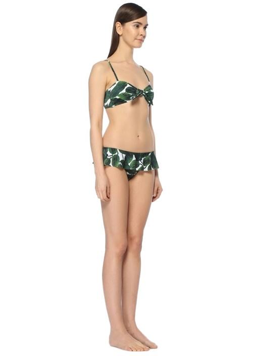 Yeşil Baskılı Önü Bağcıklı Bikini Üstü