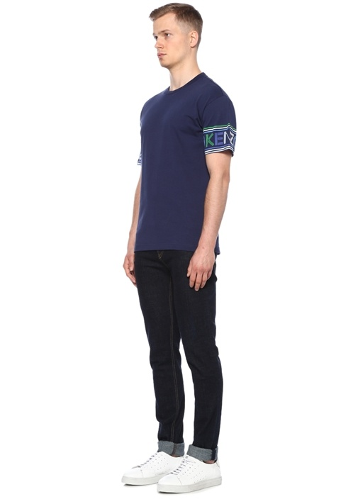 Lacivert Logo Baskılı Basic T-shirt