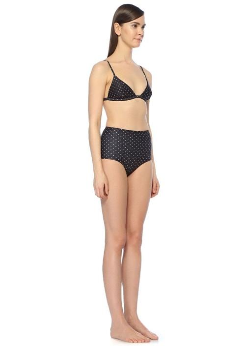 Siyah Puantiyeli Üçgen Bikini Üstü