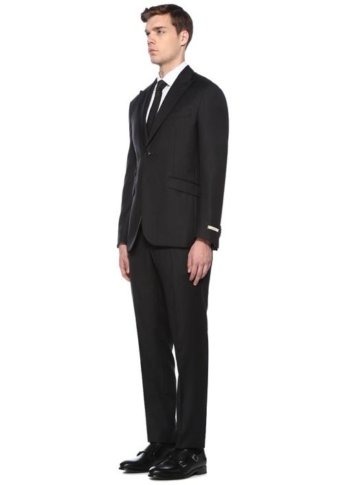 Drop 7 Antrasit Dokulu Yün Takım Elbise